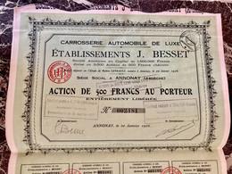 CARROSSERIE  AUTOMOBILE  De  LUXE  ÉTABLISSEMENTS  J. BESSET -------- Action  De  500 Frs - Cars