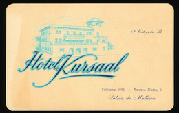 Alte Original Reklame Karte, Visitenkarte Spanien, Hotel Kursaal, Palma De Mallorca Andrea Doria, 2 - Hotel's & Restaurants