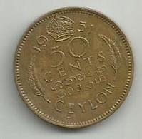 Ceylon 50 Cents 1951. Km#123 - Sri Lanka