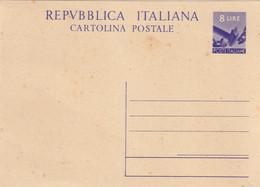 INTERO POSTALE DEMOCRATICA DA 8 LIRE NUOVO- - Stamped Stationery