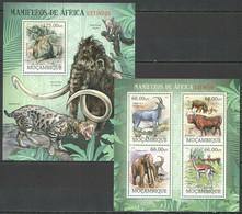 BC962 2012 MOZAMBIQUE FAUNA WILD ANIMALS EXTINCT AFRICAN MAMMOTHS BL+KB MNH - Andere