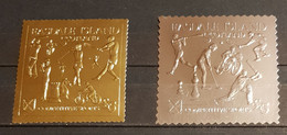 EASDALE ISLAND SCOTLAND COMPETITIVE SPORTS 2 STAMPS  GOLD &SILVER PERFORED MNH - Ohne Zuordnung