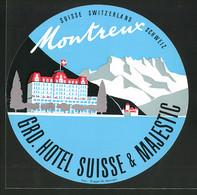 Kofferaufkleber Montreux, Grand Hotel Suisse & Majestic, Hotel, Gebirgspanorama - Unclassified