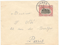 Belgium 1921, Small Cover Sent From Nismes On 09/23/21 To Paris, Reception Mark In Paris On 09/24/1921 - Brieven En Documenten