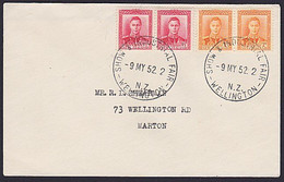 NZ KGVI PAIRS COVER 1952 WELLINGTON INDUSTRIAL FAIR POSTMARK - Covers & Documents