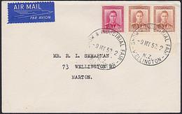 NZ KGVI 7d COVER 1952 WELLINGTON INDUSTRIAL FAIR POSTMARK - Covers & Documents