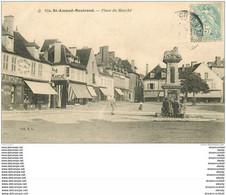18 SAINT-AMAND-MONTROND. Enfants Sur La Place Du Marché 1906 Epicerie Moderne Félix Potin - Saint-Amand-Montrond