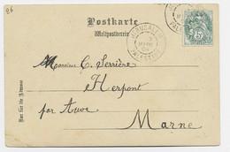 FRANCE BLANC 5C N°111 CARTE OELBERGHE JERUSALEM PALESTINE 7 MARS 1904 PEU COMMUN SUR TIMBRE DE FRANCE - 1900-29 Blanc