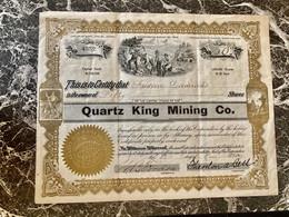 QUARTZ  KING  MINING  Co . ----------- Titre  De  50  Actions - Mines