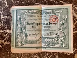 EXPOSITION  UNIVERSELLE  De  1900  ----------Bon  De  20 Frs - Ohne Zuordnung
