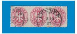 ALLEMAGNE -- PRUSSE --1867-- EIN SILBER GROSCHEN En Bande De Trois Oblitéré De LENNEP -- 2/10/67 -- - Preussen