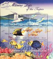 Antigua 2001 Marine Life Birds Fish Sheetlet MNH - Marine Life