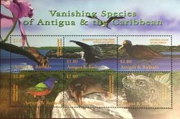 Antigua 2001 Vanishing Species Birds Animals Reptiles Sheetlet MNH - Unclassified