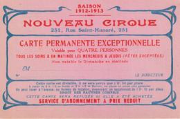 CARTE . NOUVEAU CIRQUE PARIS. FORMAT 12X8. - Pubblicitari