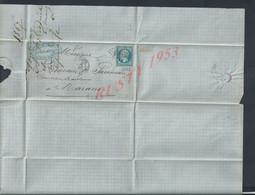 FRANCE TRIMBRE N° 22 SUR LETTRE GC 1542 FONTENAY LE COMTE VENDÉE + CAD DU 06/03/1867 : - 1863-1870 Napoléon III Lauré