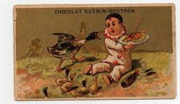 Chromo Dorée Chocolat Guérin-Boutron Champenois Pierrot Canard Cane Canetons Bouteille De Vin Poulet Rôti - Guérin-Boutron