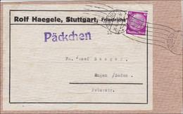 III. Reich: Päckchen Adressteil Von Stuttgart 1934, Adressteil - Zonder Classificatie