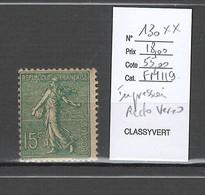 France - Yvert 130- Semeuse ** -15 Cts Vert Gris - Impression Recto Verso - Varieties: 1900-20 Mint/hinged