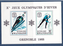 Timbres DuRwanda, Jeux Olympique D'hiver De Grenoble, 1 BF De 1968 MI BF N° 11a MNH ** à 50% De La Cote - Winter 1968: Grenoble