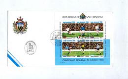 Lettre Fdc 1990 Bloc Coupe Monde Football - FDC