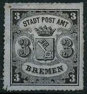 (*) N°6b 3g Noir S/azuré (type III) SG - TB - Bremen