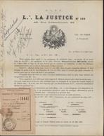 Franc Maçonnerie Loge La Justice N°133 Orient De Paris 1907 Grande Loge De France Aide Maçonnique TB Entête - Other