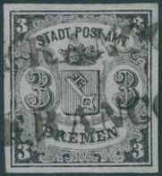 BREMEN 1x O, 1855, 3 Gr. Schwarz Auf Blaugrau, Senkrecht Gestreiftes Papier, Type II, 2x L1 FRANCO, Pracht, Mi. 750.- - Bremen