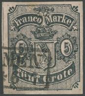 BREMEN 2 O, 1856, 5 Gr. Schwarz Auf Karmingrau, Type I, Repariert, Sonst Breitrandig Pracht, Signiert Schlesinger, Mi. 4 - Bremen