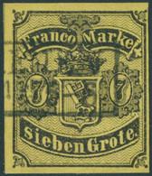 BREMEN 3a O, 1860, 7 Gr. Schwarz Auf Rötlichgelb, Pracht, Gepr. Pfenninger, Mi. 900.- - Bremen