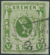BREMEN 4b O, 1861, 5 Sgr. Moosgrün, Pracht, Mehrfach Signiert, Mi. 380.- - Bremen