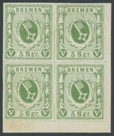 BREMEN 4c VB *, 1859, 5 Sgr. Grün Im Viererblock Aus Der Rechten Unteren Bogenecke, Pracht - Bremen
