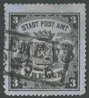 BREMEN 6x O, 1864, 3 Gr. Schwarz Auf Graublau, Senkrecht Gestreiftes Papier, Farbfrisch, Type I, Kleine Korrekturen, Fot - Bremen