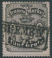 BREMEN 7B O, 1862, 5 Gr. Schwarz Auf Hellkarmingrau, Durchstich D 1II, Type I, Pracht, Mi. 300.- - Bremen