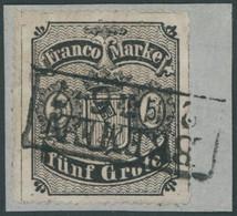 BREMEN 7B BrfStk, 1862, 5 Gr. Schwarz Auf Hellkarmingrau, Durchstich D 1II, Type II, Prachtbriefstück, Gepr. Grobe, Mi.  - Bremen