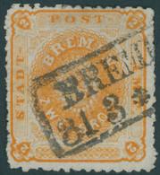 BREMEN 10a O, 1866, 2 Gr. Dunkelgelblichorange, Rauhe Zähnung, Feinst, Mi. 450.- - Bremen
