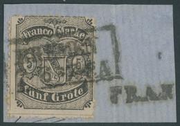 BREMEN 12 BrfStk, 1867, 5 Gr. Schwarz Auf Mattgraubraun, Großes Prachtbriefstück, Gepr. Pfenninger, Mi. (400.-) - Bremen