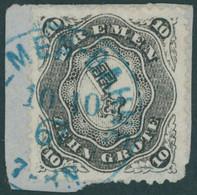 BREMEN 14 BrfStk, 1867, 10 Gr. Schwarz Auf Kleinem Briefstück Mit Blauem Stempel BREMEN-BAHNF., Pracht, Gepr. U.a. Brett - Bremen