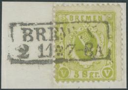 BREMEN 15a BrfStk, 1867, 5 Sgr. Schwarzgrüngelb, Kabinettbriefstück, Gepr. Brettl, Mi. (300.-) - Bremen