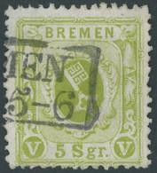 BREMEN 15c O, 1866, 5 Sgr. Dunkelgrünlicholiv, Repariert Wie Pracht, Gepr. Jakubek, Mi. 500.- - Bremen