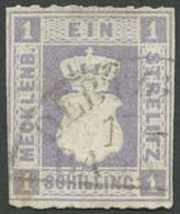 MECKLENBURG-STRELITZ 3 O, 1864, 1 S. Grauviolett, Seltener Segmentstempel OERTZENHOF BHF, Fotobefund Berger: Die Marke I - Mecklenburg-Strelitz