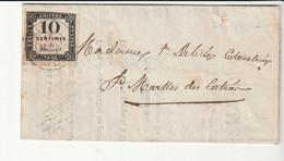 Lettre Taxée Avec Taxe 10c Noir N°1 Lithographié , Cote:850e, 1859 - 1859-1955 Briefe & Dokumente