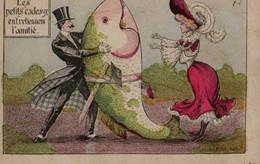Illustrée HUMOUR 1900 : Les Petits Cadeaux Entretiennent L'amitié . Enorme Poisson - Humour