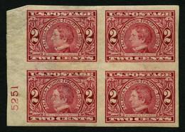 USA 176B VB *,** , Scott 371, 1909, 2 C. Alaska-Yukon-Pacific-Ausstellung, Ungezähnt, Im Viererblock Mit Plattennummer,  - Ungebraucht