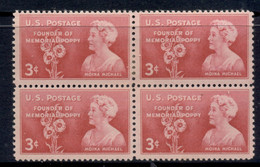 USA 1948 Sc#977 Moina Michael Blk4 MLH - Unused Stamps