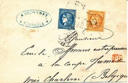 FRANCE FRAGMENT BORDEAUX JUMET BELGIQUE - 1870 Bordeaux Printing