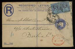 TREASURE HUNT [00704] Great Britain 1898 QV 2d Ultramarine Reg. Letter To Berlin, Up-rated With Two QV Jubilee 1/2d - Brieven En Documenten