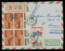 TREASURE HUNT [00705] Madagascar 1963 Reg. Air Mail Cover From Tulear To Switzerland, Colourful Franking On The Front - Madagaskar (1960-...)