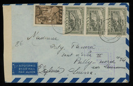 TREASURE HUNT [00720] Greece 1940 Air Mail Cover To Switzerland Bearing 100 Dr Strip Of Three+1000 Dr, Censored - Brieven En Documenten