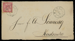 TREASURE HUNT [00726] Baden 1860s Cover Front From Baden-Baden To Karlsruhe Franked With 3kr Rose - Baden