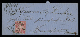 TREASURE HUNT [00729] NDP 1870s Cover From Mainz To Frankfurt Bearing Perf. 3kr Carmine Single Franking - North German Conf.